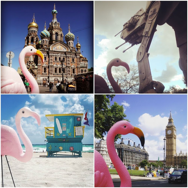 Flamingo with famous international landmarks