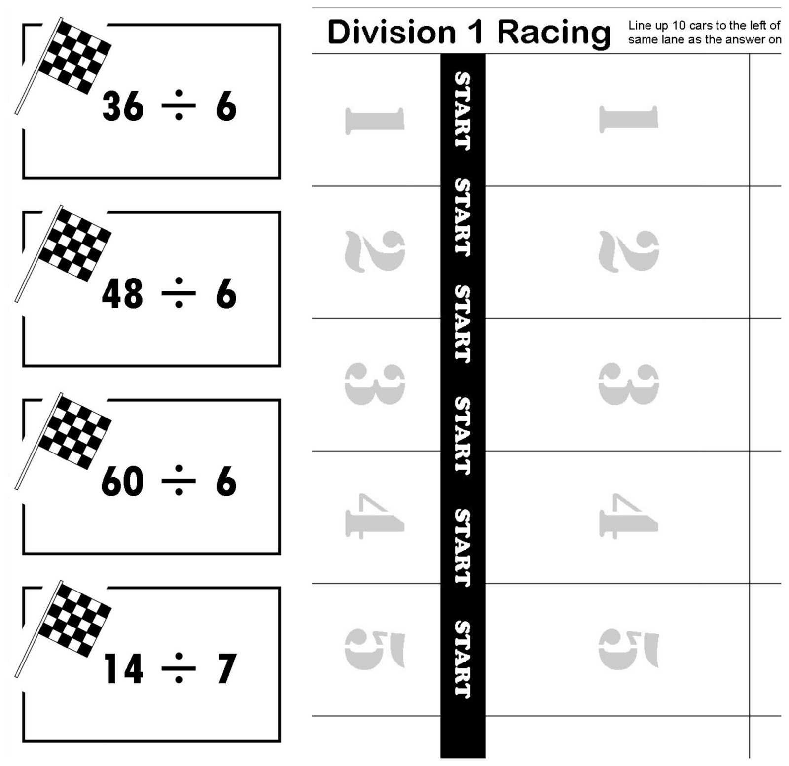 Relentlessly Fun Deceptively Educational Division 1 Racing Printable Math Game