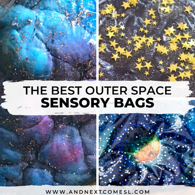 Outer space activities and sensory bags for toddlers and preschoolers