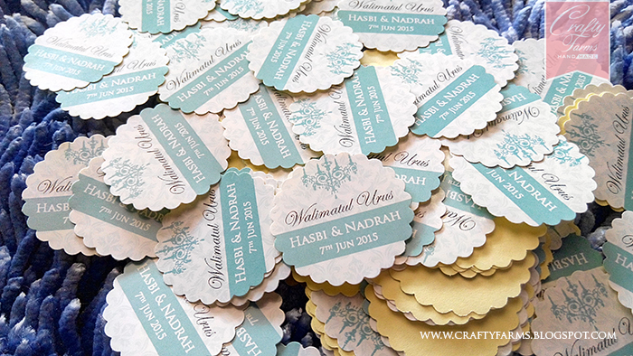 Mint colour wedding door gift stickers printing