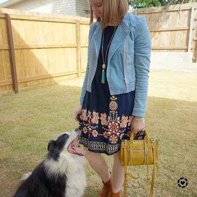 awayfromtheblue instagram | Shein navy flower print flowy dress with denim jacket mustard rebecca minkoff micro regan bag ankle boots church outfit