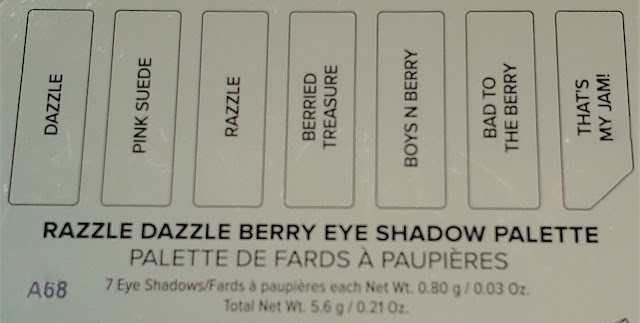 too faced razzle dazzle berry eyes hadow palette color names