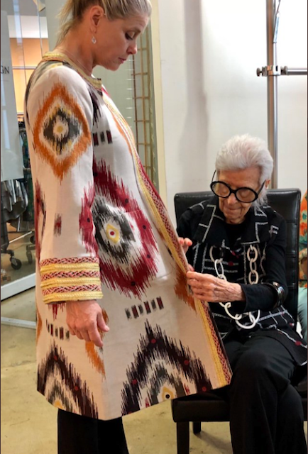 ikat iris apfel birthday gown, central asian fabrics iris apfel, uzbekistan ikat fabrics, textile tourrs central asia