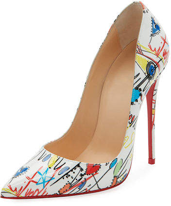21efd7f0284 ... clearance this christian louboutin so kate loubitag pump is made of  white leather with colorful graffiti ...