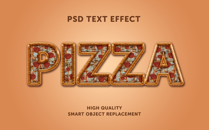 Pizza Text Effect PSD Mockup