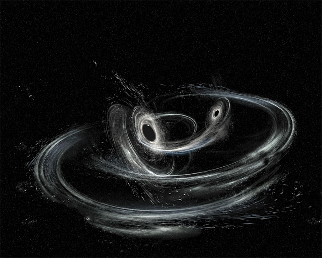 ilustração artística da fusão de 2 buracos negros