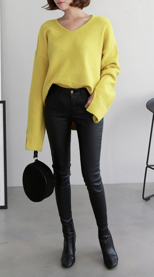 Black Elastic Waist Coated Skinny Pants