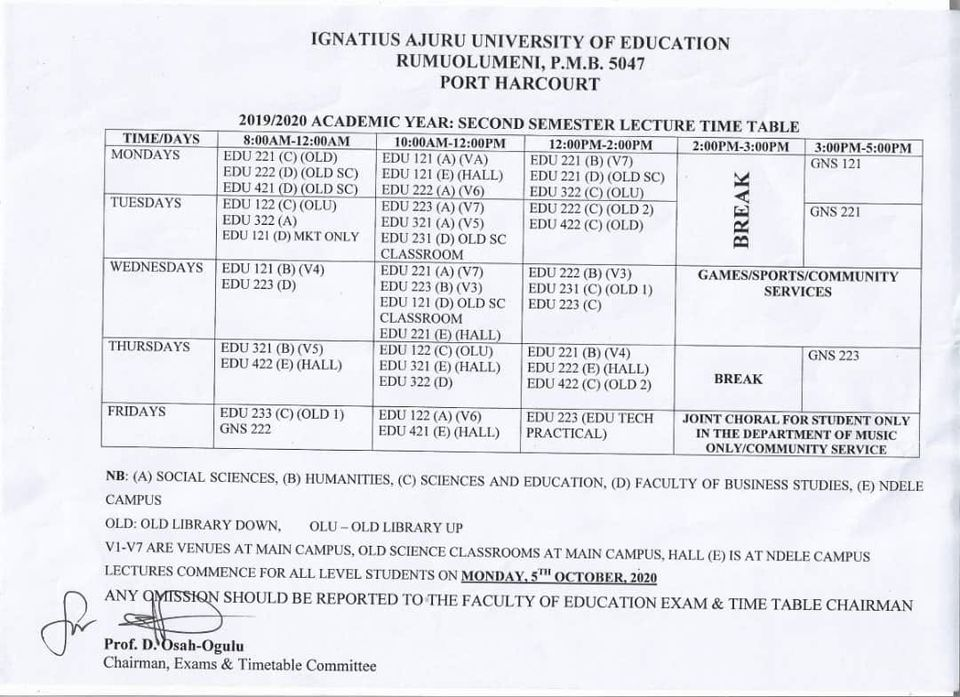 IAUE Lecture Timetable for 2nd Semester 2019/2020