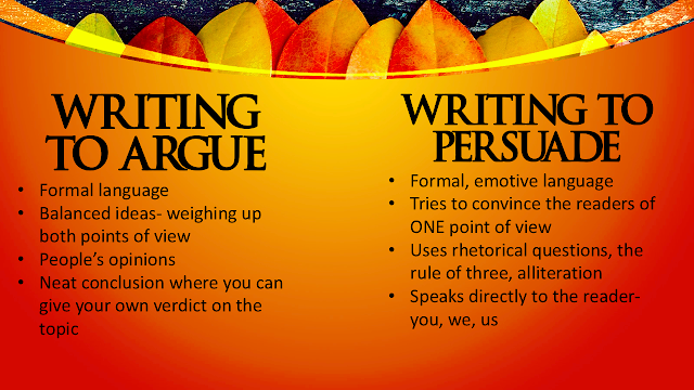 Guide in Writing to Argue and Writing to Persuade