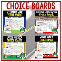 Digital Choice Boards for American History, Civics, World Geography