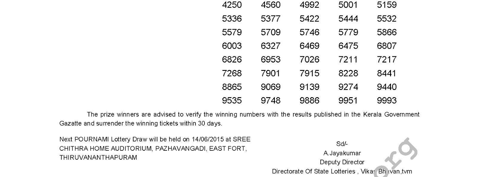 POURNAMI Lottery RN 188 Result 7-6-2015