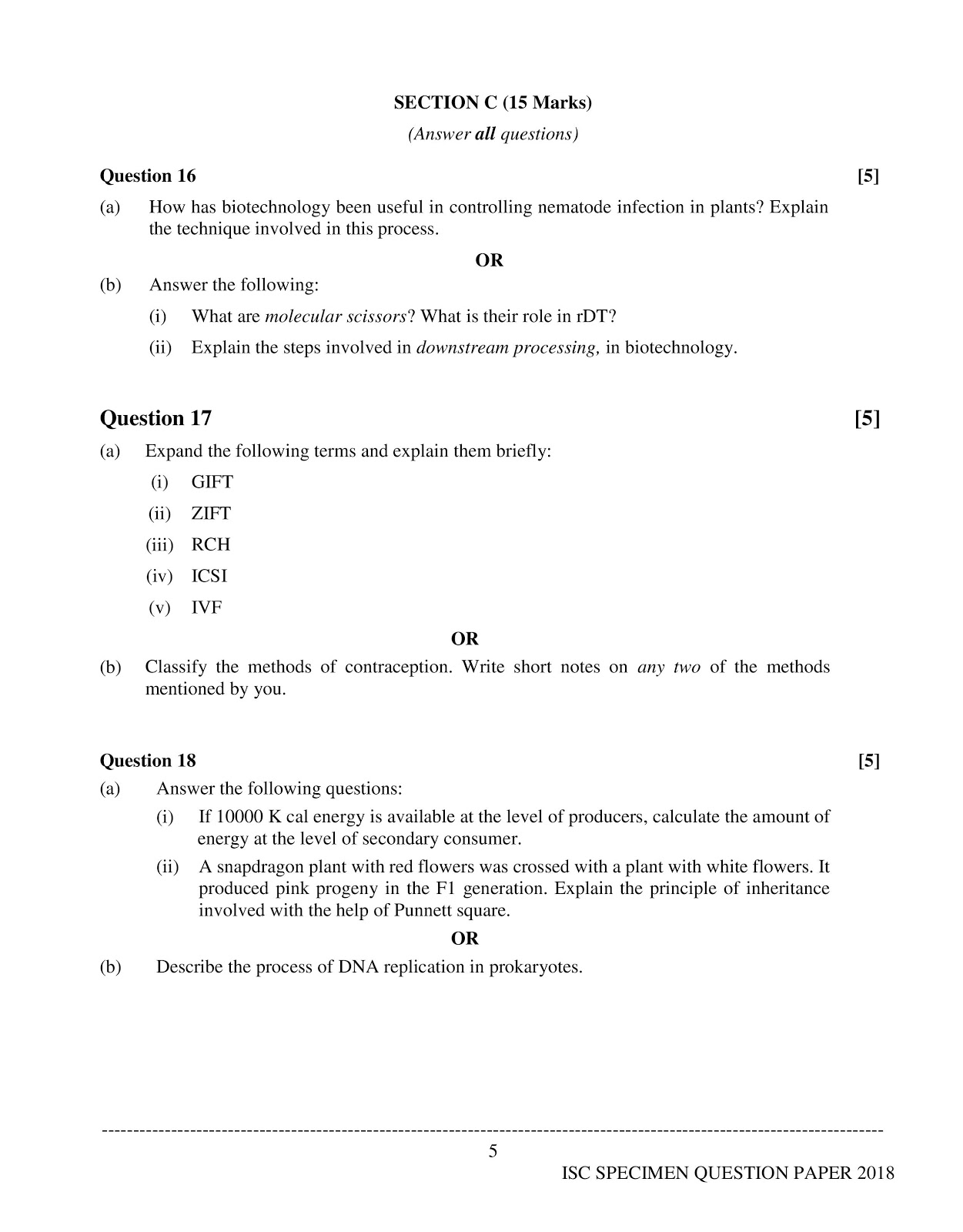 isc 2018 class 12th biology Specimen question paper