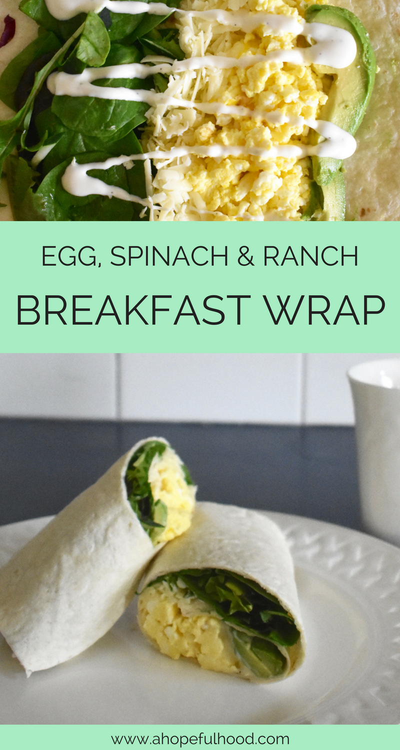 This easy wrap has all the favorites: eggs, spinach, avocado, and sharp cheddar drizzled in ranch! It only takes 10 minutes to make and you've got an easy, on-the-go breakfast. // via @ahopefulhood
