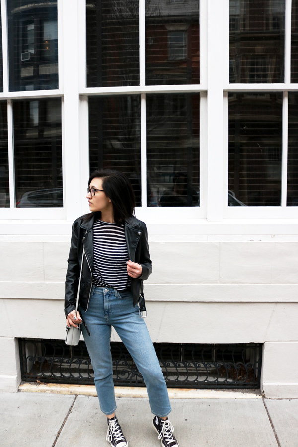 How to style mom jeans and leather jacket