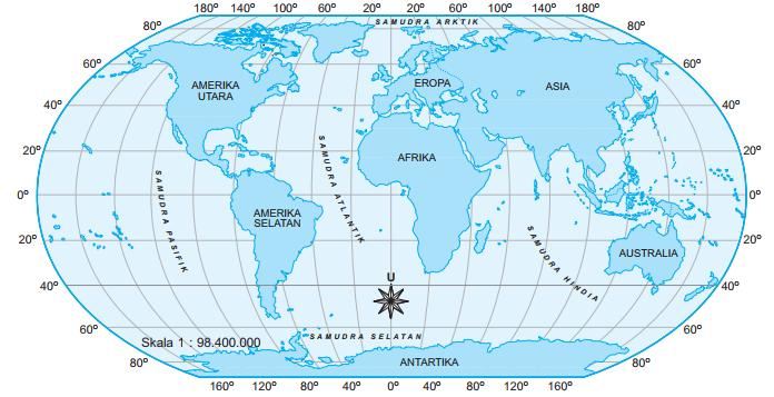 Gambar peta letak benua dan samudra