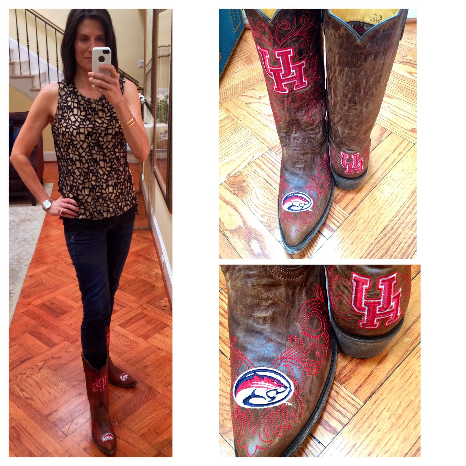 gameday boots, university of houston boots, college boots, who makes college boots