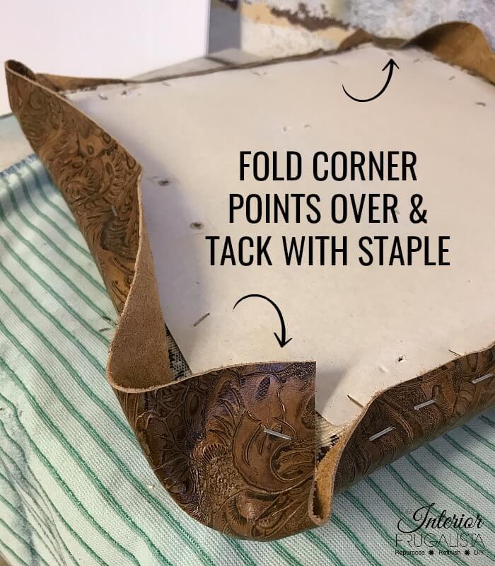 Embossed Leather Footstool Folder Corners