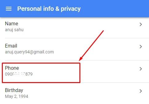 gmail se phone no change karna hai