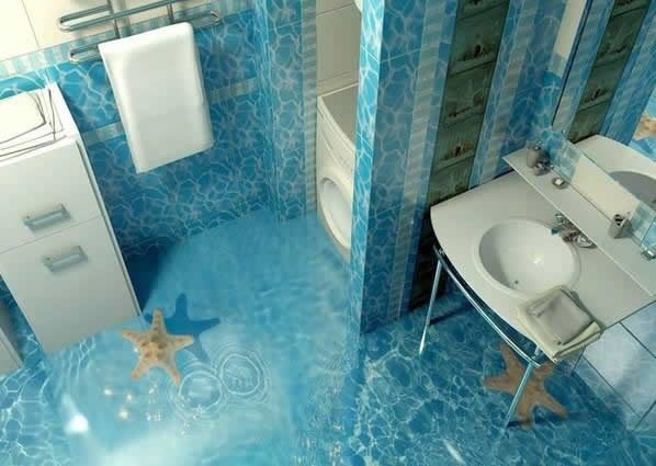 self leveling 3D floors designs for bathroom flooring