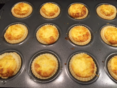 Mini Cheese and Onion Quiches straight out of the oven