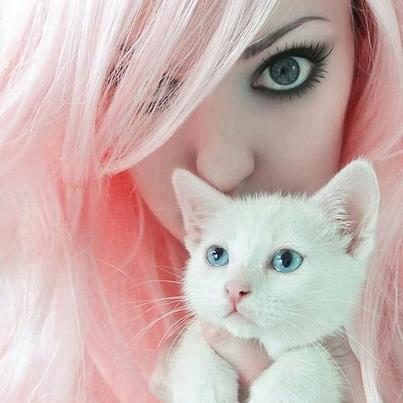 Girls With Pink Hair And Kitten