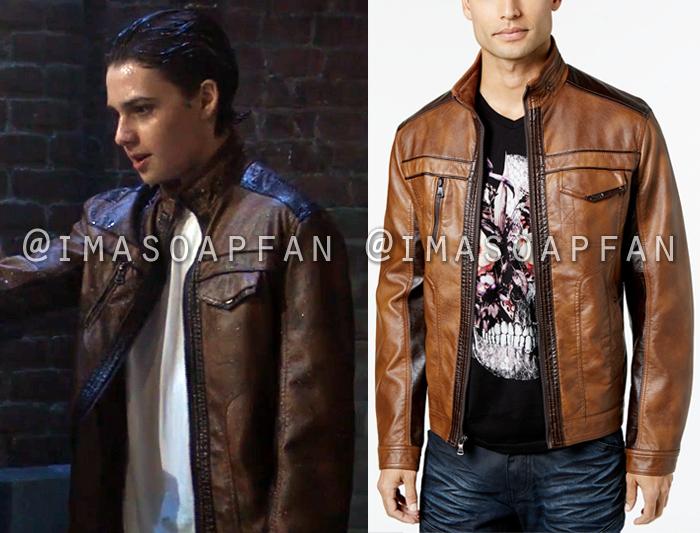 Sonny Corinthos, Joshua Benard, Brown Two-Tone Faux Leather Jacket, General Hospital, GH