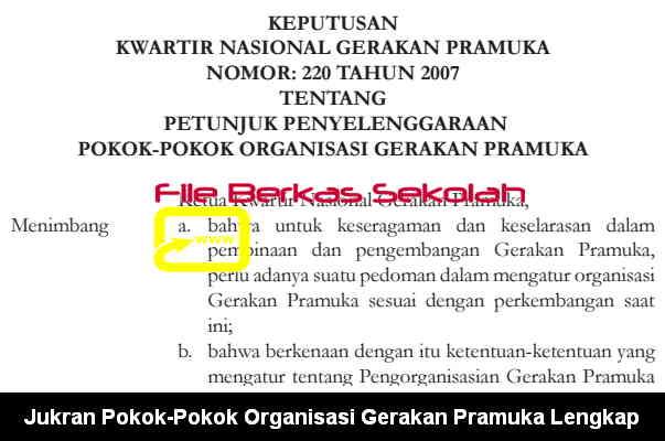 Download Jukran Pokok-Pokok Organisasi Gerakan Pramuka Lengkap format PDF