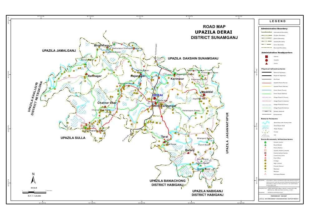 Derai Upazila Road Map Sunamganj District Bangladesh