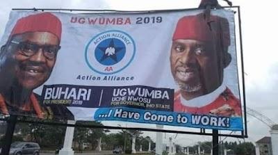 Okorocha's Son-in-law uses Buhari's image to campaign, despite leaving APC