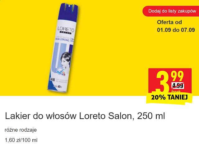 Lakier do włosów Loreto Salon - Biedronka, promocja