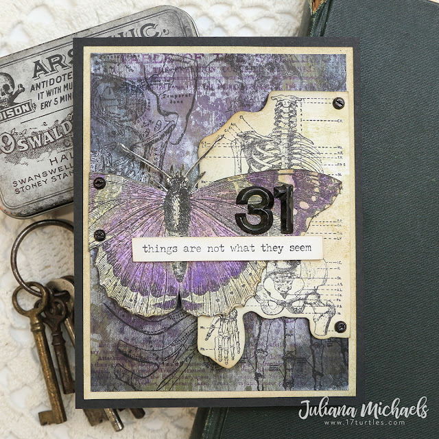 Things Are Not What They Seem Halloween Card by Juliana Michaels featuring Tim Holtz Stampers Anonymous Tiny Text Halloween Specimen, Examination, Dearly Departed and Eroded Metallic Technique.