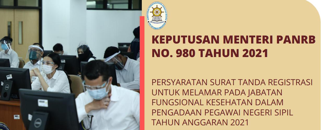 Kepmenpan Rb Nomor 980 Tahun 2021 Tentang Daftar Jabatan Fungsional Kesehatan Yang Mempersyaratkan STR Dalam Seleksi CPNS Tahun 2021