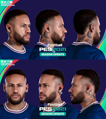 PES 2021 Faces Neymar Jr (with Earings) by Yeshua
