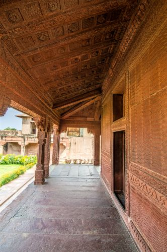 Ornately carved outer wall and roof outside Ruqayya Begum's Palace