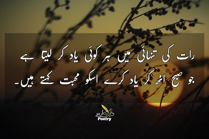 Urdu Poetry - رات کی تنہائی میں ہر کوئی یاد کرلیتا ہے