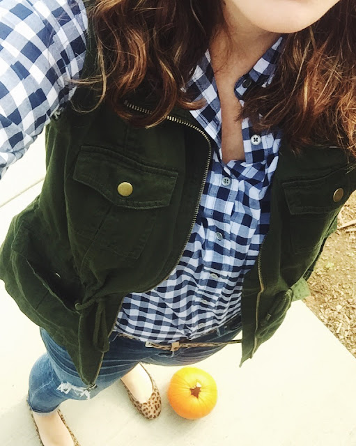 It's the Grad Life: Gingham. Lucky Booties, Olive Vest