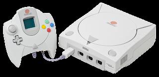 Imagen de la Dreamcast de Sega de color blanco