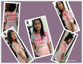 free crochet pattern, free ladies crochet top, ICE Batik yarn