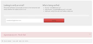 Resultado do teste: endereço de e-mail/correio não existe