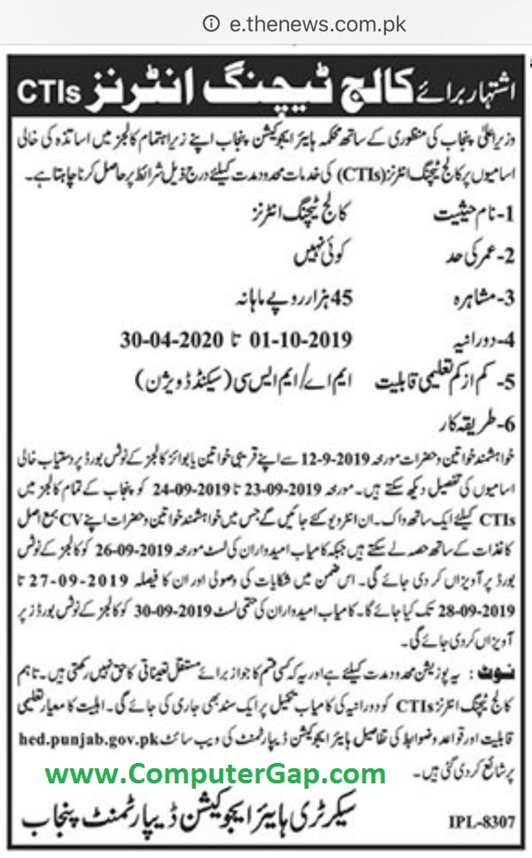 New Interview Schedule of CTI Jobs 2019
