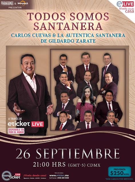 Carlos Cuevas en compañía de La Auténtica Santanera de Gildardo Zarat presentarán un concierto único online