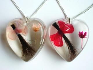 Hair, pink flower and bow keepsake pendant
