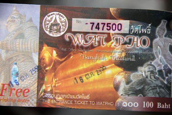 Ticket de Entrada a Wat Pho el Buda reclinado