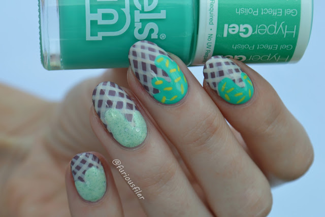 Ice cream cornetto drips mint nail art tutorial