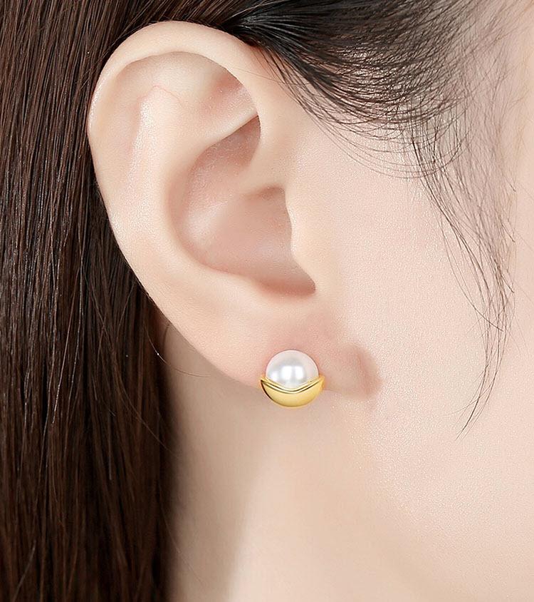 優雅金擬珍珠 925純銀耳環