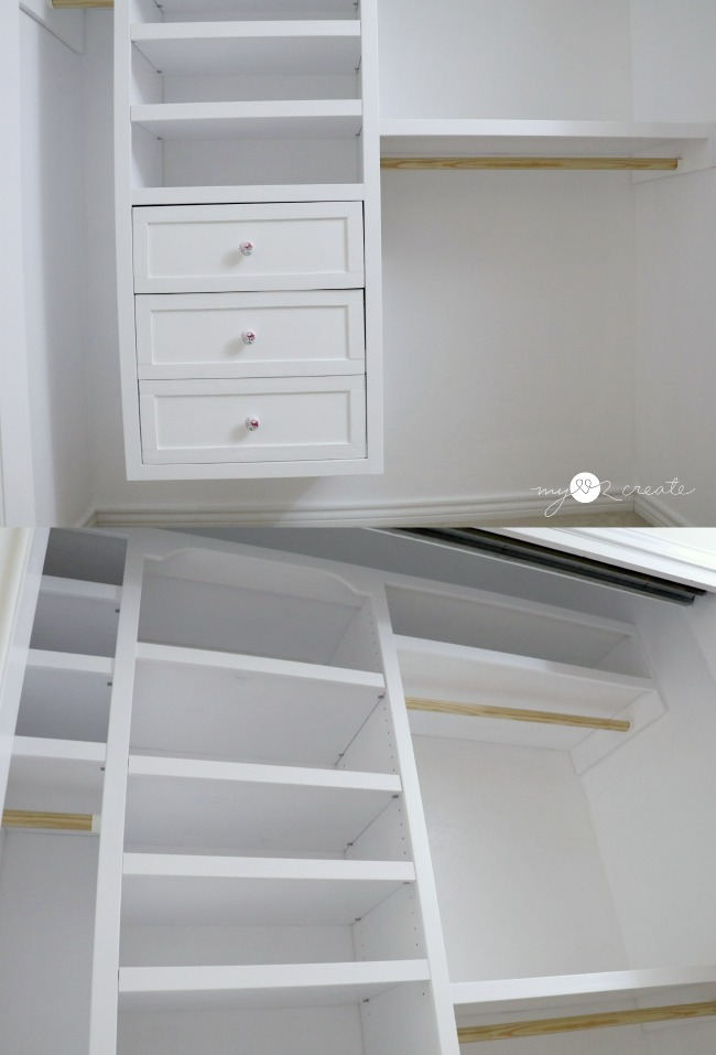 Built in closet drawers and shelves
