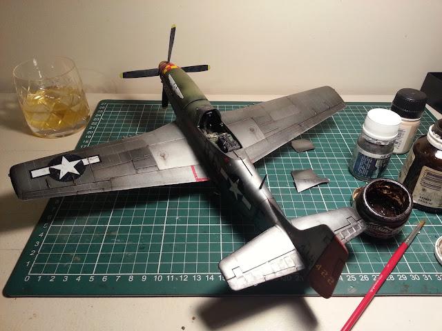 weathering my 1/32 Hasegawa P-51D Mustang