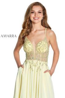 Chifoon A-Linen Prom Dress Amarra Soft Yellow