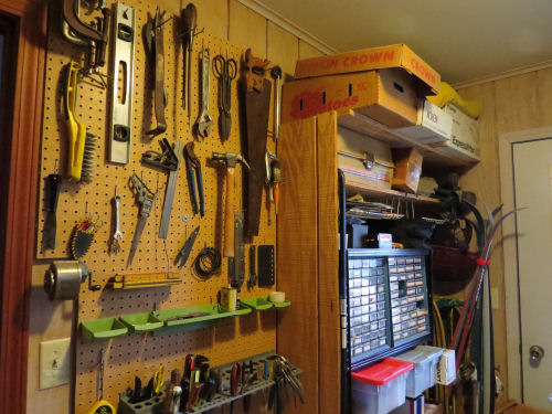 pegboard and shelves