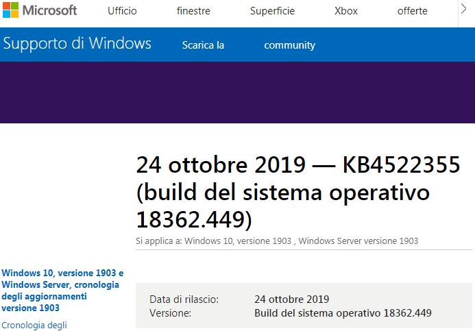 Pagina delle note di rilascio dell'aggiornamento KB4522355 per Windows 10 1903